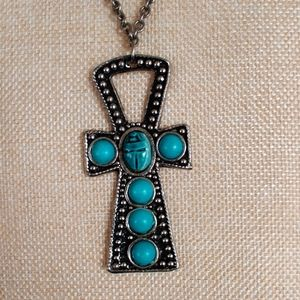Vintage boho turquoise scarab cross necklace